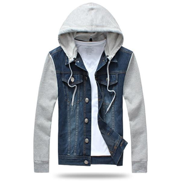 Мужская мода Denim Cotton Blend Patchwork Съемный капюшон Slim Fit Spring Fall Jackets