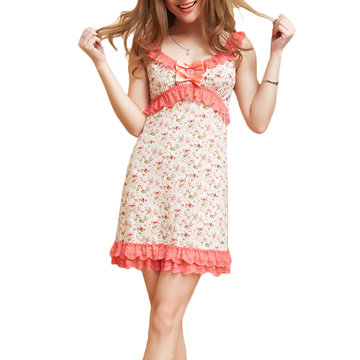 Sexy Low-cut Floral Lace Hem Nightdress Breathable Sleepwear For Women