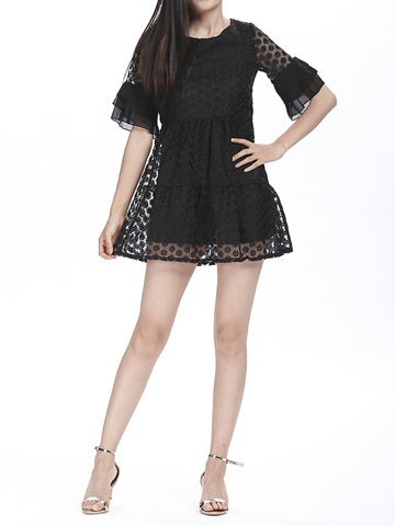 Sexy Transparent Flare Sleeve Organza Women Party Mini Dress