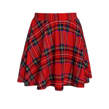 Retro Preppy Style Grid Plaid Printed Pleated Women Skating Skirt