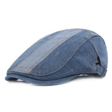 Men Retro Washed Denim Beret Cap Casual Travel Sunscreen Forward Hat
