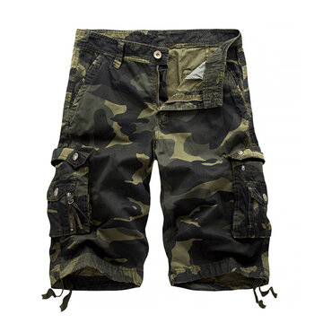 Mens Camo Printed Multi-pocket Knee Length Cargo Shorts Casual Beach Shorts