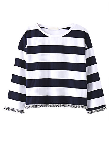 Women Tassels Stripe Long Sleeve O-neck Casual T-shirt