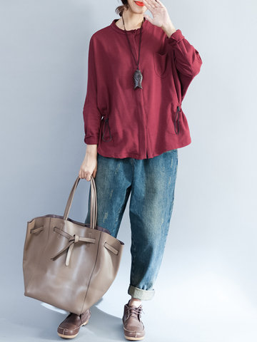 Long Sleeve Buttons Drawstring Blouses