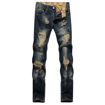 Fashion Coolest Vintage Holes Personality Stone Washed Jeans for Men