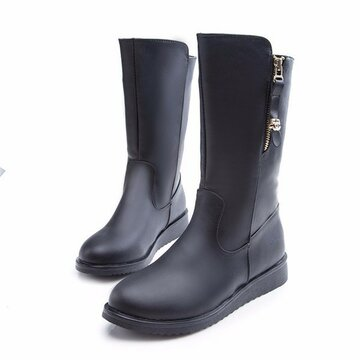 Black Knight Mid Calf Flat All Match Zipper Boots