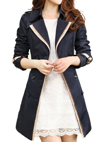 Women Long Sleeve Lapel Double Breasted Trench Coat With Belt