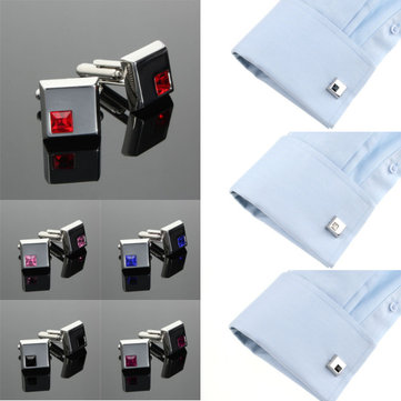Men Silver Cufflinks Stainless Steel Vintage Square Crystal Wedding Party Gift Accessories