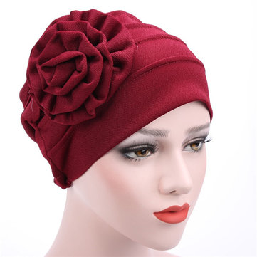 Women New Side Paste Large Flower Beabies Cap