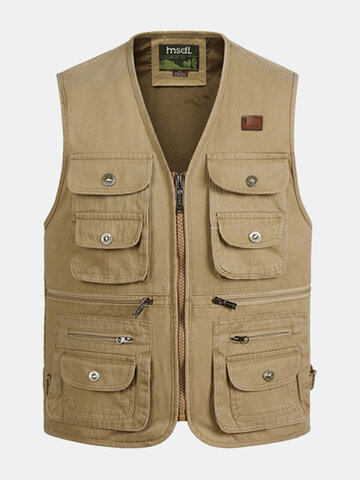 Outdoor Sport Fishing Photographic Pure Cotton Multi Pockets Vest Waistcoats for Men