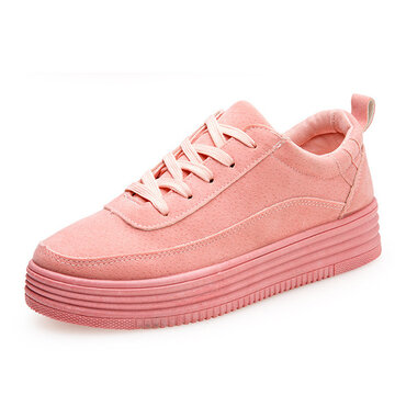 Pure Color Lace Up Breathable Casual Flat Sports Trainers Sneakers