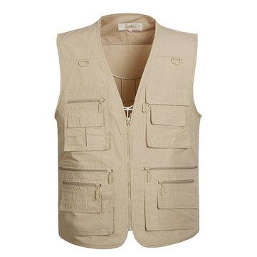 Plus Size Mens Multi Pockets Vest