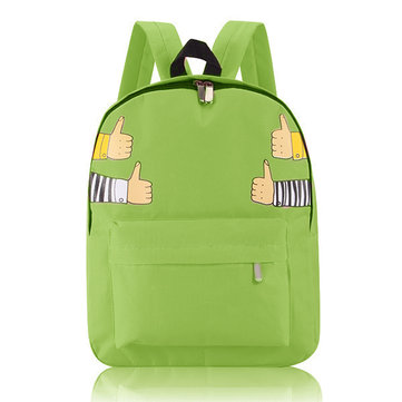Women Canvas Print Backpack Casual Hand Pattern Schoolbag