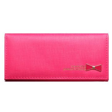Women Bowknot Pure Color Lovely Wallet Card Holder Purse