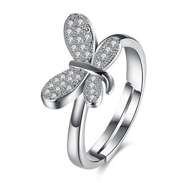 Свадебное ювелирное кольцо Серебряное бабочка Zircon Регулируемое женское кольцо подарок