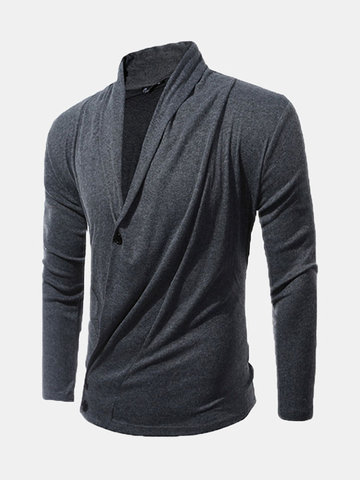 Mens Fashion Fall Solid Color Two Buttons Turndown Collar Casual Cardigan