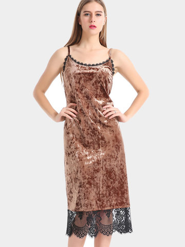 Sexy Velvet Lace Patchwork Camisole O-neck Women Dress