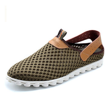 Big Size Mesh Breathable Slip On Flat Casual Sport Shoes For