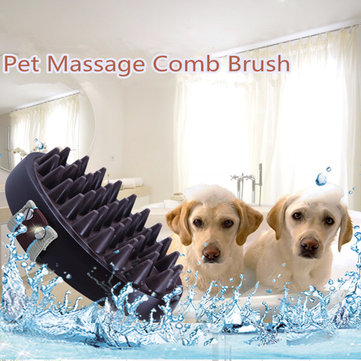 Cat Dog Pet Massage Soft Silicone Brush Bath Wash Cleaning Hair Removal Comb Golden Satsuma Labra