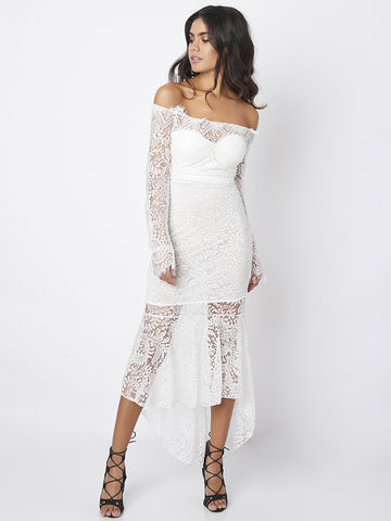 Women Sexy Lace Off-shoulder Long Sleeve Fishtail Dress