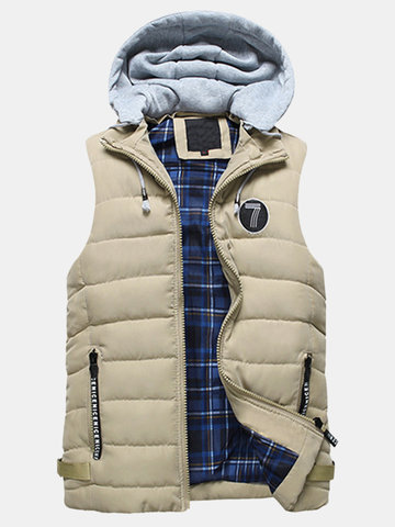 Stylish Casual Cotton Thicken Warm Pockets Detachable Hooded Vests for Men