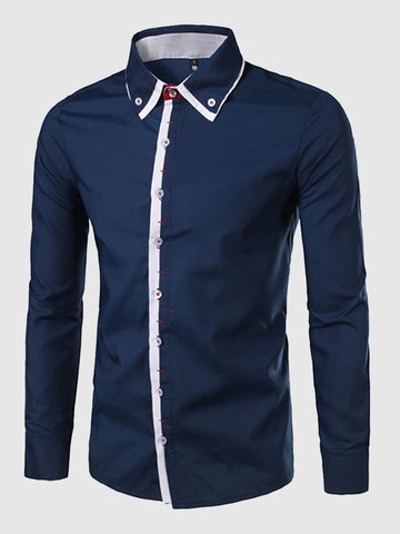 Casual Business Fashion Fit Stitching Designer Shirts for Men