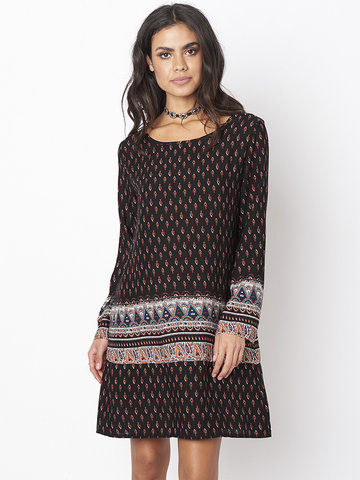 Gracila Folk Style Print Long Sleeve O-neck Women Mini Dress