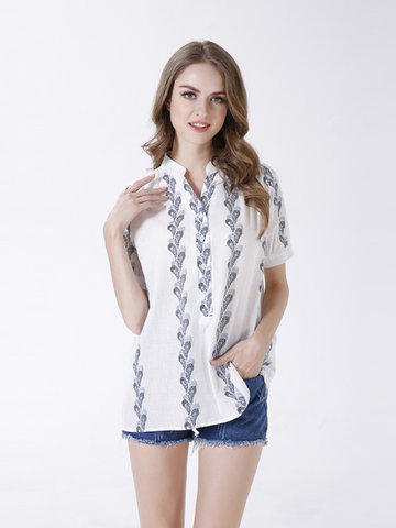 Plus Size Women Printing Stand Collar Short Sleeved Cotton Blouse