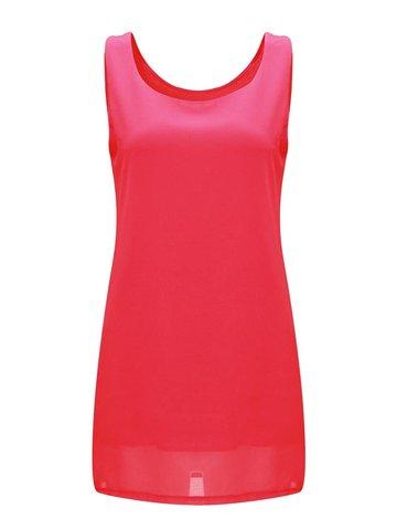 Brief básica de color puro sin mangas mini vestido de mujer