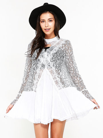 Lace Women Flare Sleeve Patchwork Dresses