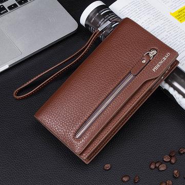 Мужчины Универсальный 5.5 '' Мобильный телефон Кошелек Pu Кожаный кошелек для карты памяти для iPhone Samsung Xiaomi Sony