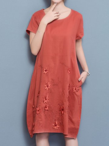Floral Embroidered Loose Short Sleeve O-neck Dress For Women