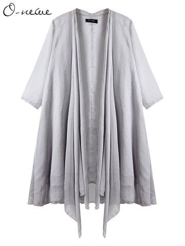 O-NEWE Casual Mujer Pure Color Layered Half Sleeve Irregular Cardigan