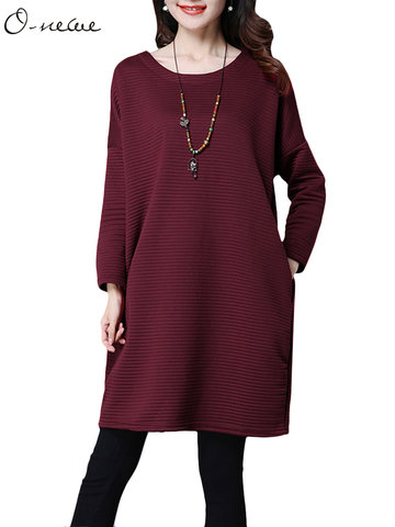 O-NEWE Fashion Elegant Dimensional Striped Long Sleeve Round Neck Cotton Dress For Women