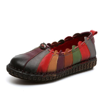 Socofy Rainbow Weave Leather Soft Flat Vintage Loafers