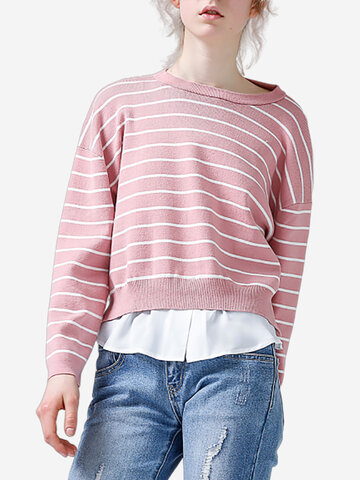 TOYOUTH Stripe Patchwork Sweaters