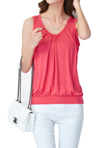Sexy O-neck Solid Color Tank Tops For Women