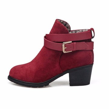 Buckle Ankle Low Heel Slip On Chunky Heel Boots