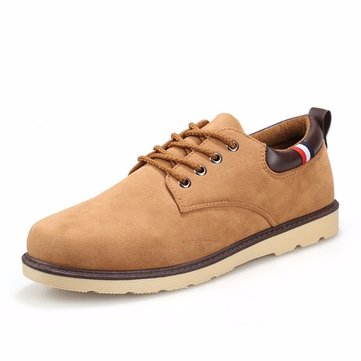 Men Suede Oxfords Casual European Style Lace Up Shoes