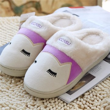 Canton Pattern Slip On Winter Indoor Flat Cute Warm Home Slippers