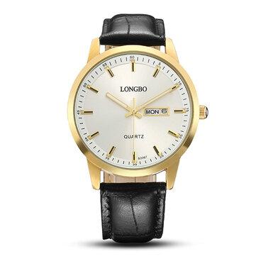 LONGBO Simple Watch Leather Week / Date Спортивные часы для подарка для пары