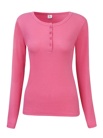 Women Long Sleeve Buttons O-Neck Pure Color Cotton T-shirts