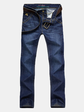 AFSJEEP Fashion Solid Color Straight Leg Loose Jeans for Men