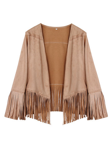 Fashion Loose Pure Color Tassels Patchwork Cardigan For Women