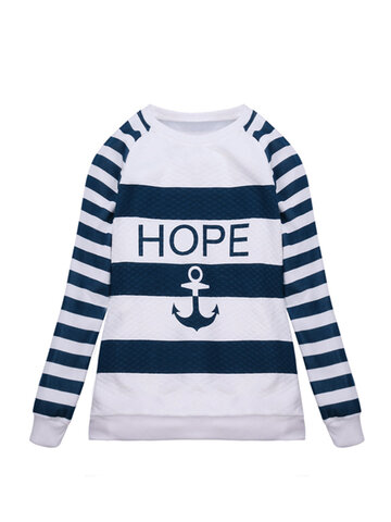 Casual Long Sleeve Anchor Stripe O-Neck Loose T-shirt
