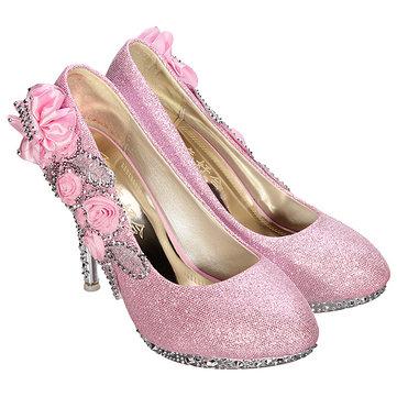 Crystal Flower High Heels Pumps