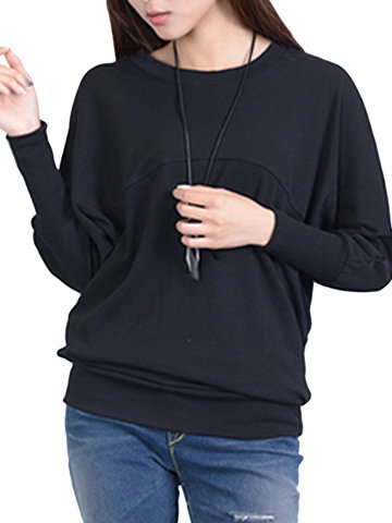 Loose Batwing Sleeve Pure Color Round Neck Blouse For Women