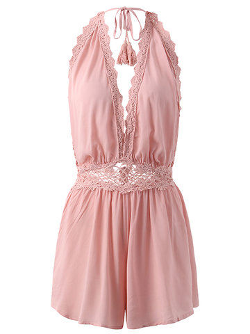 Sexy Lace Patchwork Hollow Backless Halter Women Jumpsuits