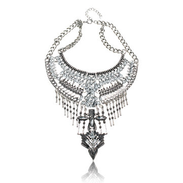 Arrow Rhinestone Tassel Bib Choker Statement Necklace