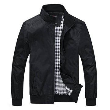 Mens Fashion Stand Collar Casual Cotton Jacket Outdoor Sport Coat